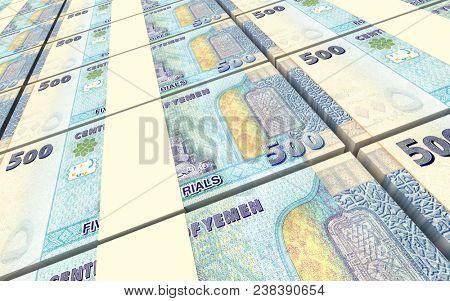 Yemeni rials bills stacked background. 3D illustration.