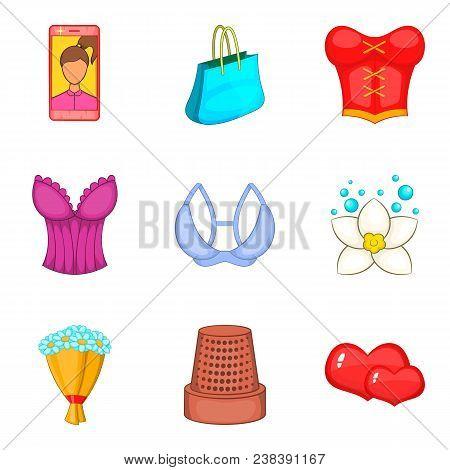 Feminine Gender Icons Set. Cartoon Set Of 9 Feminine Gender Vector Icons For Web Isolated On White B