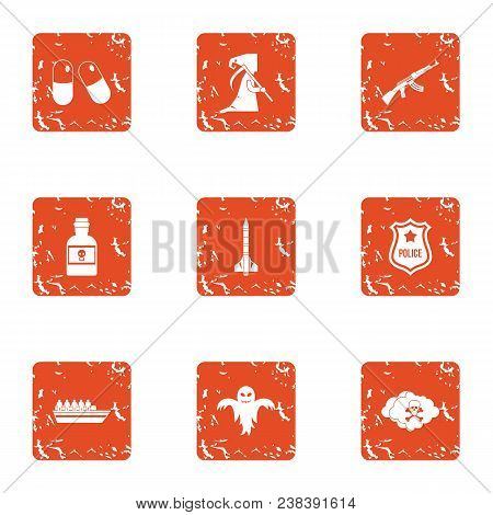 Serious Crime Icons Set. Grunge Set Of 9 Serious Crime Vector Icons For Web Isolated On White Backgr