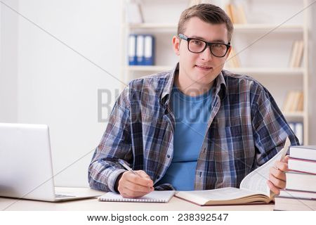 Young student preparing to school exams with books