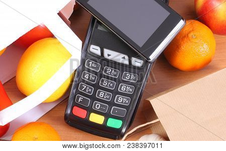 Credit Card Reader, Payment Terminal With Mobile Phone With Nfc Technology And Fruits And Vegetables