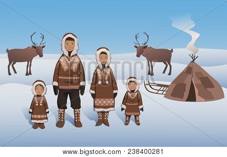 Eskimo Family In Traditional Outfit Standing By Inuit Hut. Eskimos And Deers On Snowy Northern Lands