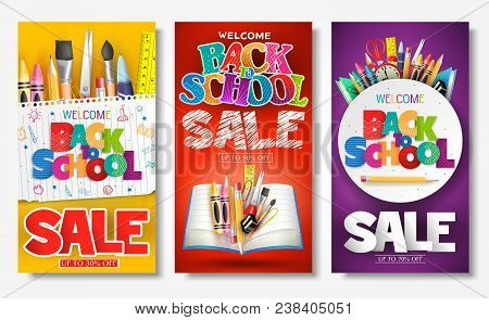 Back To School Sale Creative Ad Banner And Poster Set With Colorful Titles And Different School Item