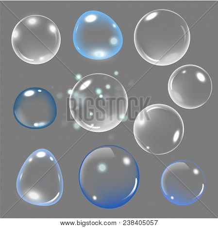 Realistic Soap Bubble With Rainbow Colors On Gray Background. Vector Soap Bubble Illustration. Soap