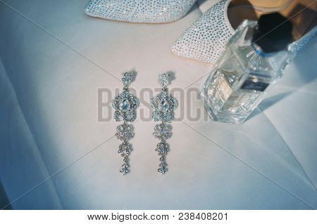 Beautiful Earrings Of The Bride. Wedding Accessories