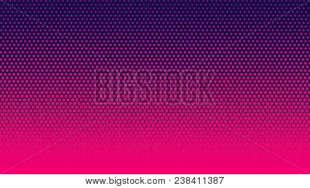 Halftone Gradient Pattern Vertical Vector Illustration. Pink Dark Blue Dotted, Blue Halftone Texture