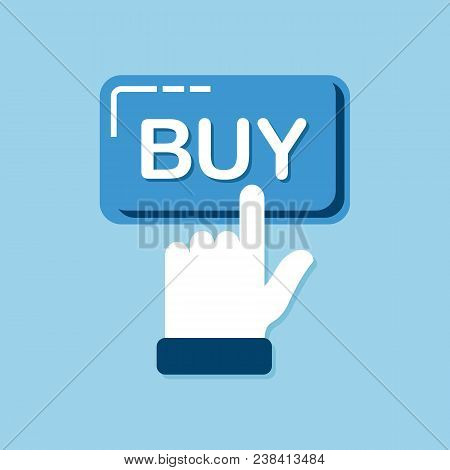Buy Button. Design For Mobile And Web Applications. Trendy Buy Button With Hand Clicking For Your We