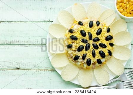 Sunflower Salad , Festive Appetizer Shaped Sunflower Flower Decorated With Potato Chips, Egg And Oli