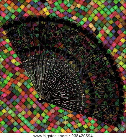 Abstract Many Colored Background Image Consisting Of Lines, Cubes With Retro Black Fan