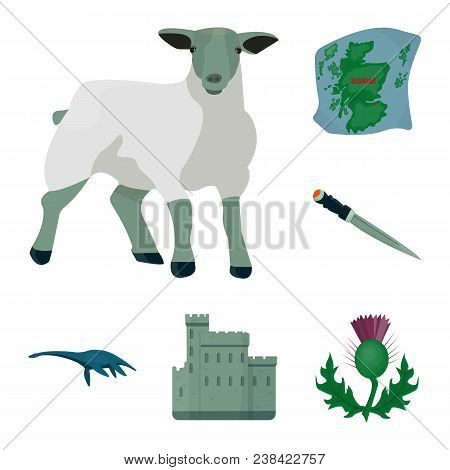 Country Scotland Cartoon Icons In Set Collection For Design. Sightseeing, Culture And Tradition Vect