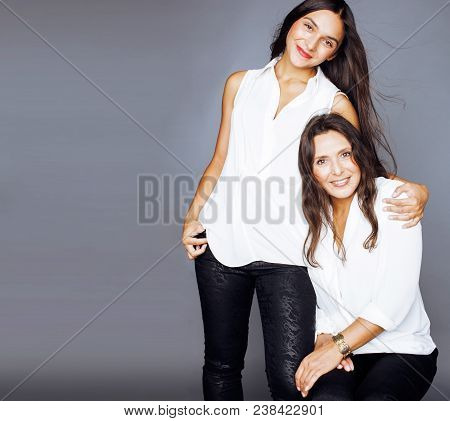 Cute Pretty Teen Daughter With Mature Mother Hugging, Fashion Style Brunette, Lifestyle People Conce