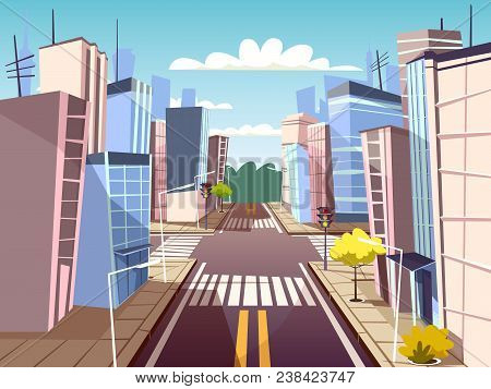 Vector Cartoon Pedestrian Crosswalk, Crossroad On City Downtown Background Template. Illustration Wi