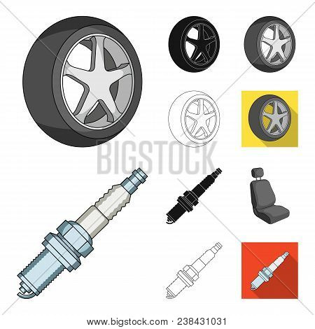 Car, Vehicle Cartoon, Black, Flat, Monochrome, Outline Icons In Set Collection For Design. Car And E