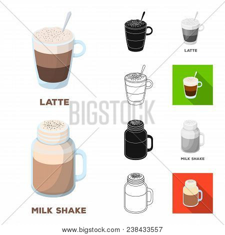 Different Kinds Of Coffee Cartoon, Black, Flat, Monochrome, Outline Icons In Set Collection For Desi