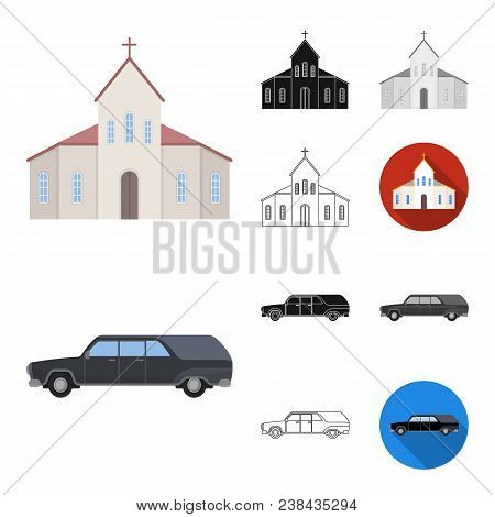 Funeral Ceremony Cartoon, Black, Flat, Monochrome, Outline Icons In Set Collection For Design. Funer
