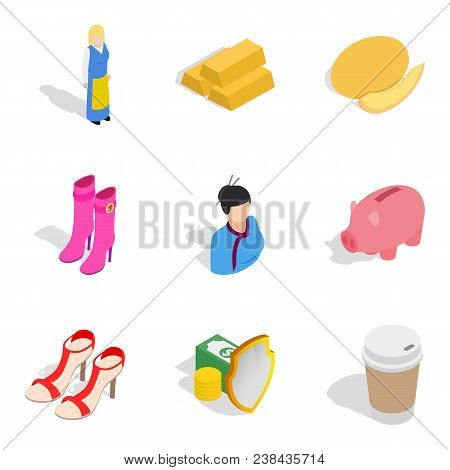 Virgin Icons Set. Isometric Set Of 9 Virgin Vector Icons For Web Isolated On White Background