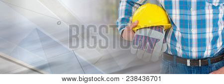 Construction Worker with safety gloves and hat in front of construction site with transition effect
