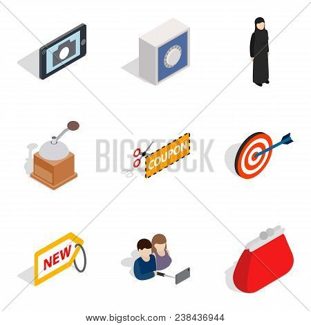Damsel Icons Set. Isometric Set Of 9 Damsel Vector Icons For Web Isolated On White Background
