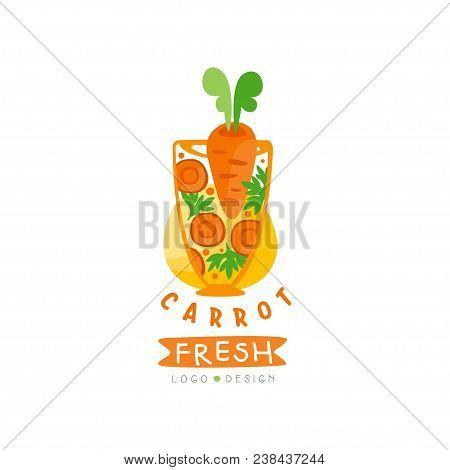 Hand Drawn Logo Design For Organic Carrot Juice. Healthy Vegetarian Drink. Vegetable Beverage In Gla