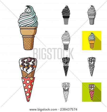 Different Ice Cream Cartoon, Black, Flat, Monochrome, Outline Icons In Set Collection For Design. De