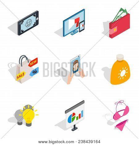 Missy Icons Set. Isometric Set Of 9 Missy Vector Icons For Web Isolated On White Background