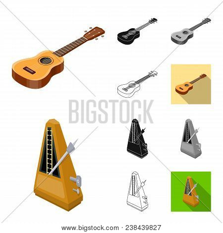 Musical Instrument Cartoon, Black, Flat, Monochrome, Outline Icons In Set Collection For Design. Str