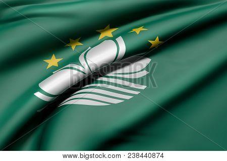 3d Rendering Of A Macau Flag Waving