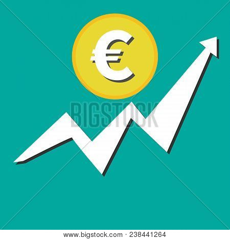 Financial Growth Euro Icon Flat. Financial Business Progress Arrow Up And Sign Euro Icon Vector Temp