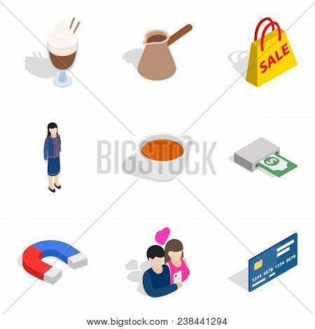 Business Lady Icons Set. Isometric Set Of 9 Business Lady Vector Icons For Web Isolated On White Bac