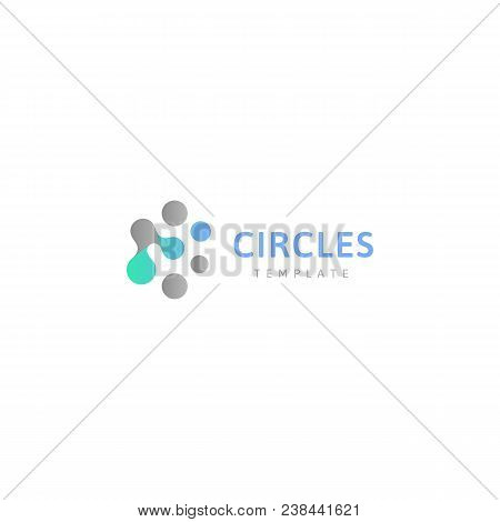 Circles Abstract Logo Template. Connected Dots, Creative Design Conceptual Logotype. Innovation Sign