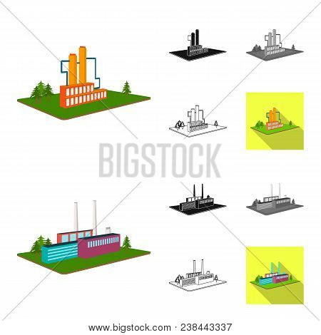 Factory And Plant Cartoon, Black, Flat, Monochrome, Outline Icons In Set Collection For Design. Prod