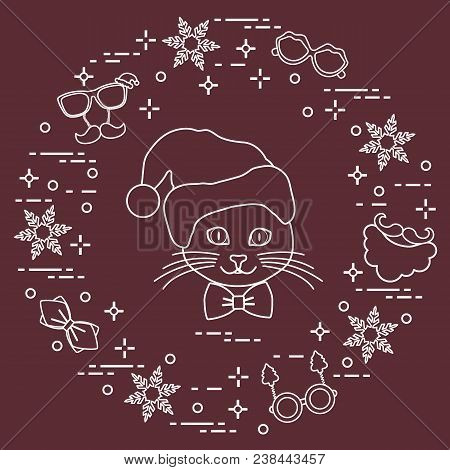 66f1fbb4e945 Muzzle Of Cat In Christmas Hat And Carnival Masks, Snowflakes, Glasses, Bow  Tie