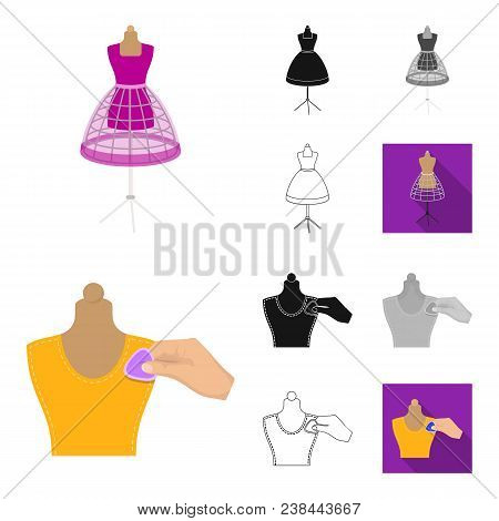 Atelier And Equipment Cartoon, Black, Flat, Monochrome, Outline Icons In Set Collection For Design.