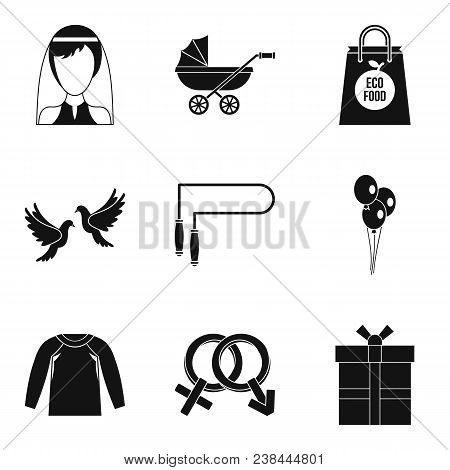 Female Happiness Icons Set. Simple Set Of 9 Female Happiness Vector Icons For Web Isolated On White