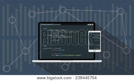 Php Hypertext Preprocessor Programming Language With Laptop Notebook And Smartphone Vector Graphic I
