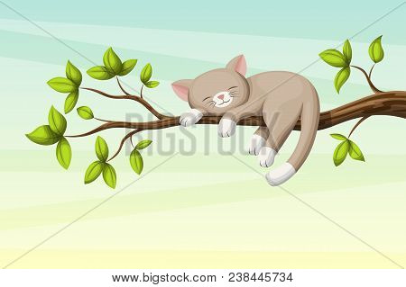Little Cat Ist Sleeping On A Branch With Leaves