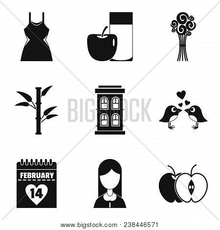 Dame Happiness Icons Set. Simple Set Of 9 Dame Happiness Vector Icons For Web Isolated On White Back