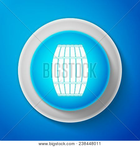 White Wooden Barrel Icon Isolated On Blue Background. Alcohol Barrel, Drink Container, Wooden Keg Fo