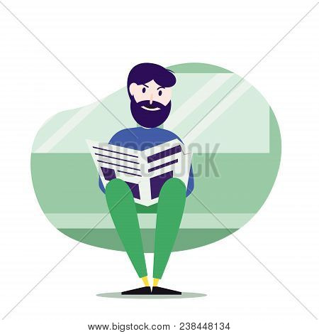 Caucasian Man Reading Newspaper In Public Transport. Hipster Man With Beard Traveling By Public Tran