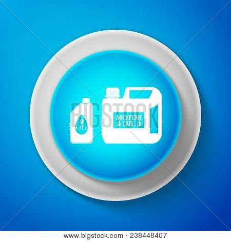 White Plastic Canister For Motor Machine Oil Icon Isolated On Blue Background. Oil Gallon. Oil Chang