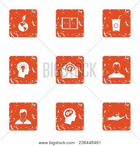 Eco Distribution Icons Set. Grunge Set Of 9 Eco Distribution Vector Icons For Web Isolated On White