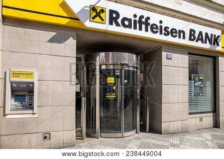 Prague, Czech Republic - April 02, 2018: Raiffeisen Bank Branch In Prague. Raiffeisen Bank Internati