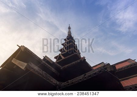 The Seven-tiered Spire Roof Of The Bagaya Monastery (original Built In 1593) With Blue Sky Backgroun