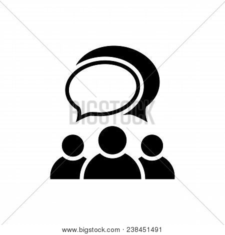 People Talking Icon. Group Of People Symbol With Bubbles Isolated On White Background. Simple Abstra