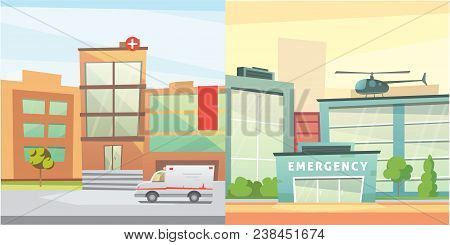 Set Hospital Building Cartoon Modern Vector Illustration. Medical Clinic Building And City Backgroun