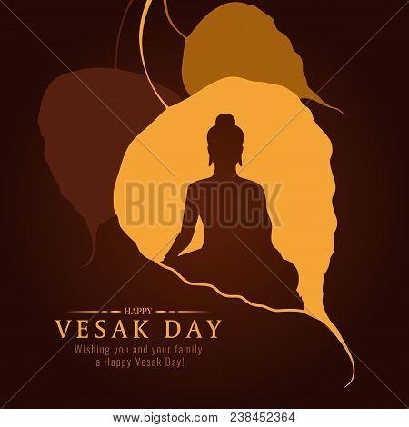Vesak Day Banner Card With Buddha Sign In Bodhi Leaf Tree Vector Design