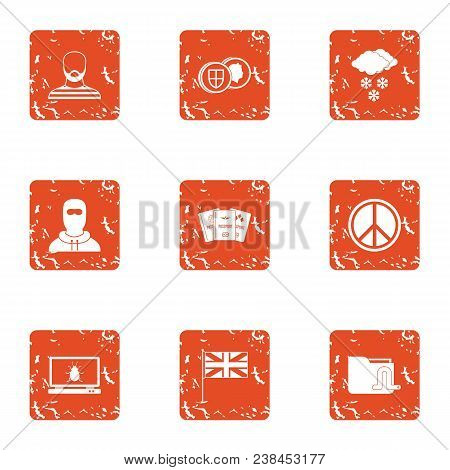 Peaceful People Icons Set. Grunge Set Of 9 Peaceful People Vector Icons For Web Isolated On White Ba