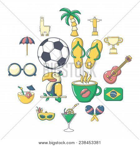 Brasil Travel Icons Set. Cartoon Illustration Of 16 Brasil Travel Vector Icons For Web