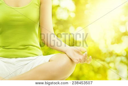 Yoga Outdoor Meditation, Woman Body Meditating, Human Hand Closeup, Healthy Exercise On Green Nature