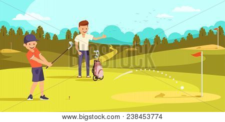 Joyful Boy Is Hitting Ball With Golf Clubs, Aiming At Hole. Happy Father Showing Thumbs Up On Golf C